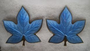 "Vintage pair of hand-made Danish 925 silver gilt and enamel ""Maple leaf"" clip-on earrings"