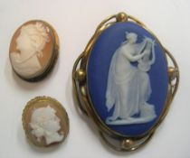 3 old cameo brooches, the largest stamped Wedgewood verso, Largest measures 5 x 4 cm