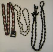 Vintage beaded ladies 1960s belts (2) and long beaded necklace