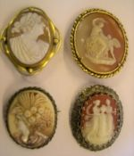 4 large Victorian Cameo brooches