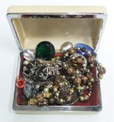 Collection of costume jewellery in vintage case