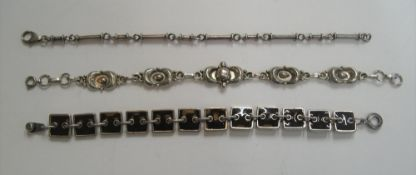 3 ladies bracelets including 2 superb silver examples & a rare Scooter of Paris enamelled