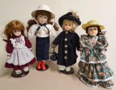 4 porcelain decorative large dolls all on metal stands, 1 with label for Alberon Dolls of London,