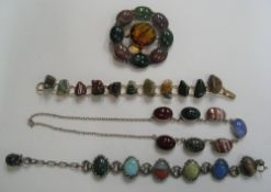 Scottish hardstone jewellery to include a brooch, 2 bracelets and a ladies necklace set in silver (