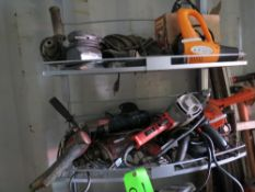 LOT ASSORTED POWER HAND TOOLS, HEDGE TRIMMER, ENGRAVER, 6-ASSORTED DRILLS, 2- HEAT GUNS, PALM SANDER