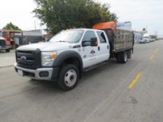 2015 Ford F-450 SUPER DUTY STAKE BED TRUCK, WITH LIFT GATE, SUPER CREW CAB , 6.7 POWER STROKE DIESEL