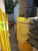 LOT YELLOW PLASTIC DRUMS AND BLACK METAL DRUM