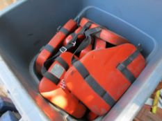 LOT FLOTATION DEVICES IN PLASTIC RUBBISH CONTAINER