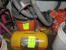 LOT 5 GAL. PORTABLE AIR TANK & 2-ASSORTED SHOP VACS