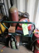 LOT OF WELDING AND TORCH EQUIPMENT, RADNOR CYLINDER & TORCH CART, WELDING HOSE, ALUMINUM COVER