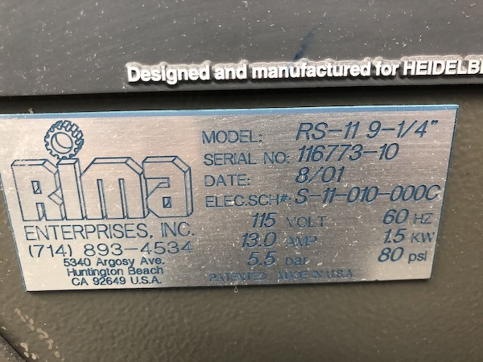 Lot 224 - Rima Stacker 2001 RS-11 9-1/4 SN 116773-10
