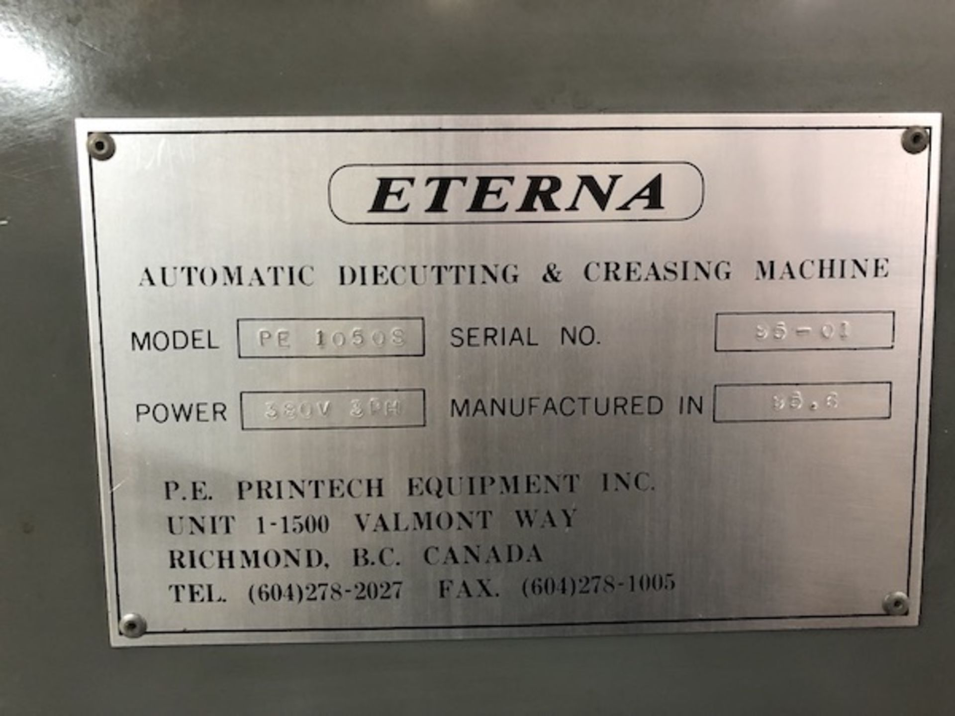 Lot 217 - Eterna Model PE1050S Flatbed Diecutter w/Auto Stripper, 29x41