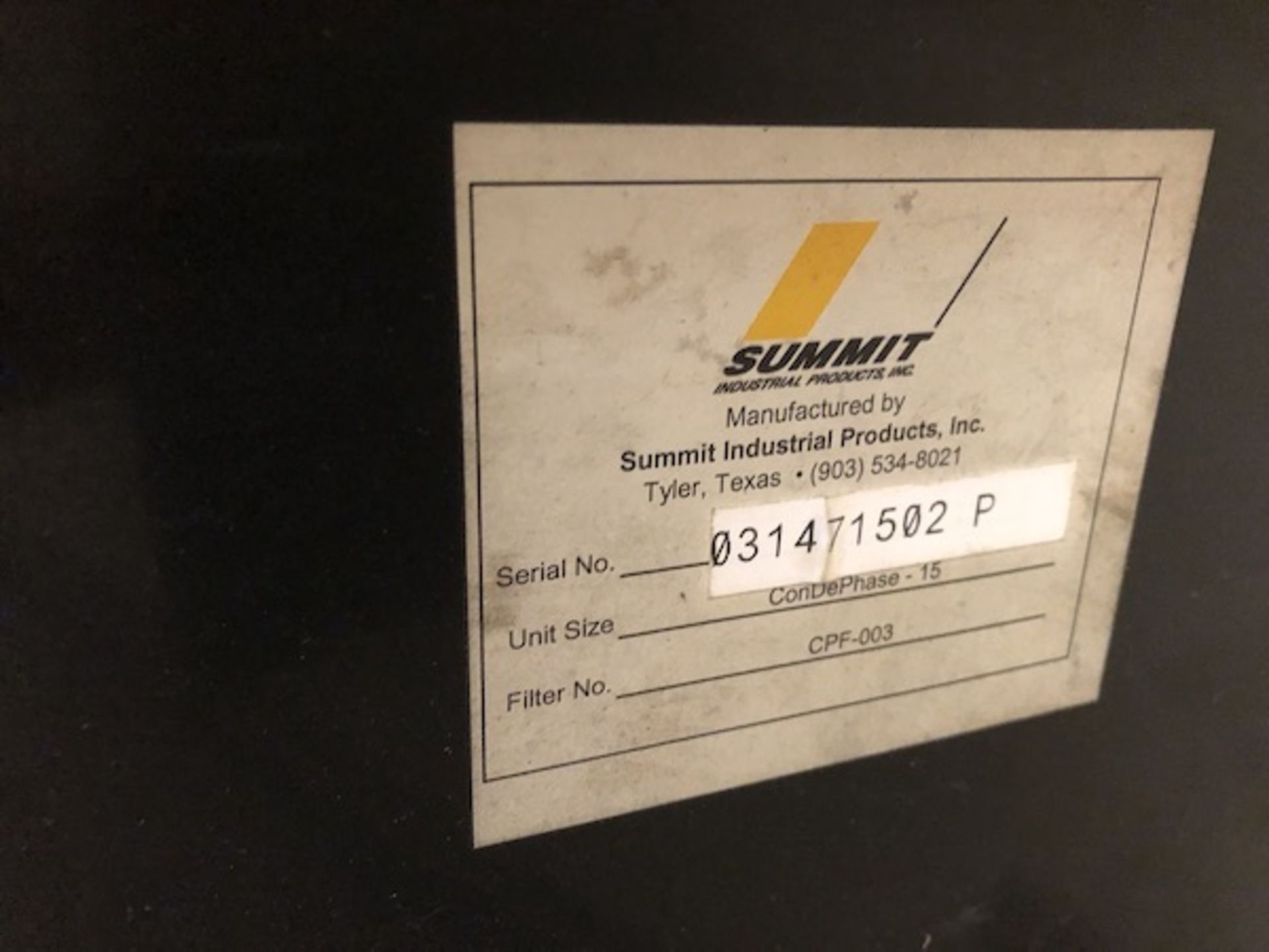 Lot 88 - Summit Industries ConDePhase Plus oil/water seperator for air compressor.