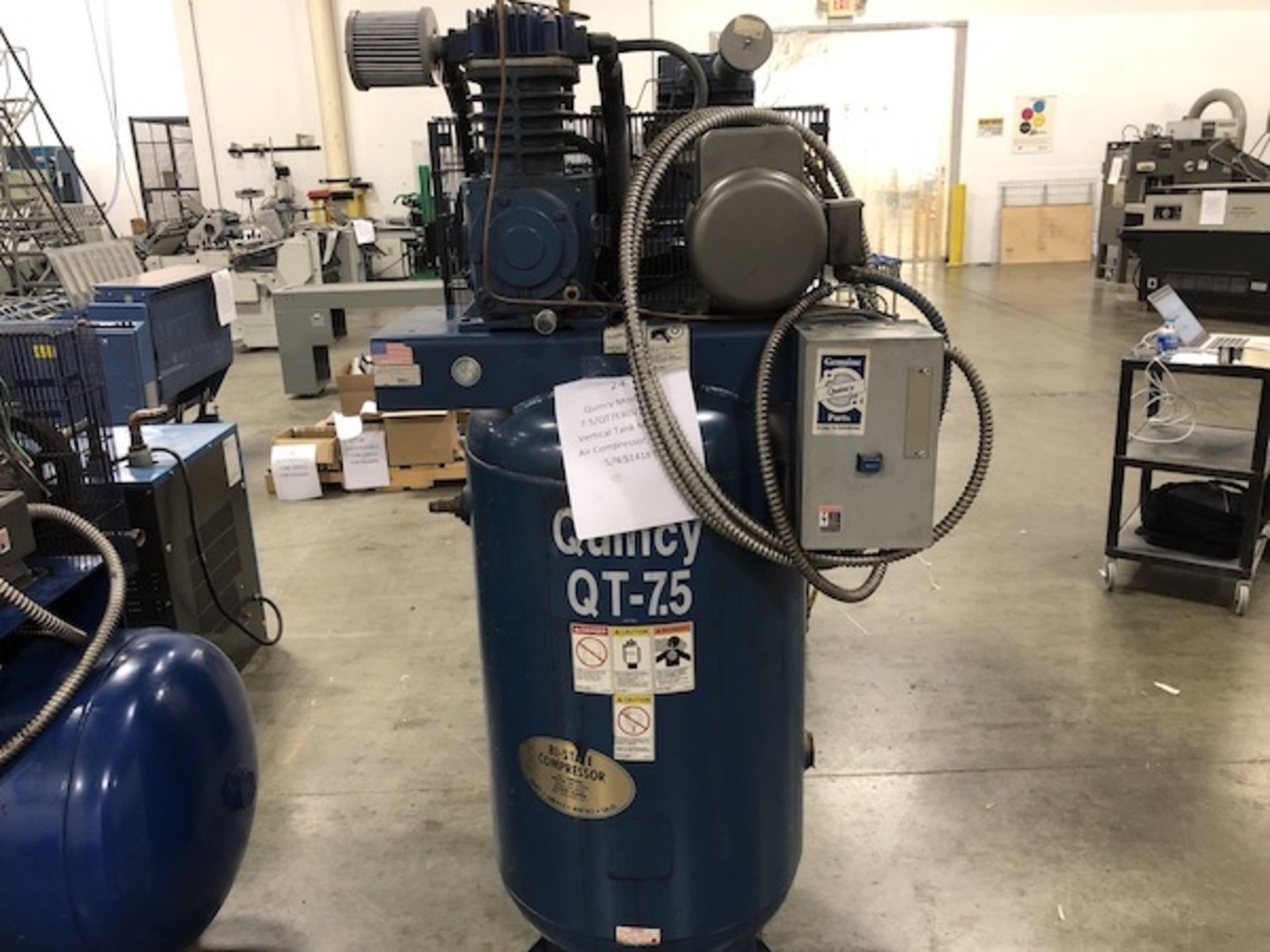 Lot 24 - Quincy Vertical Tank Mounted Air Compressor, 7.5-HP
