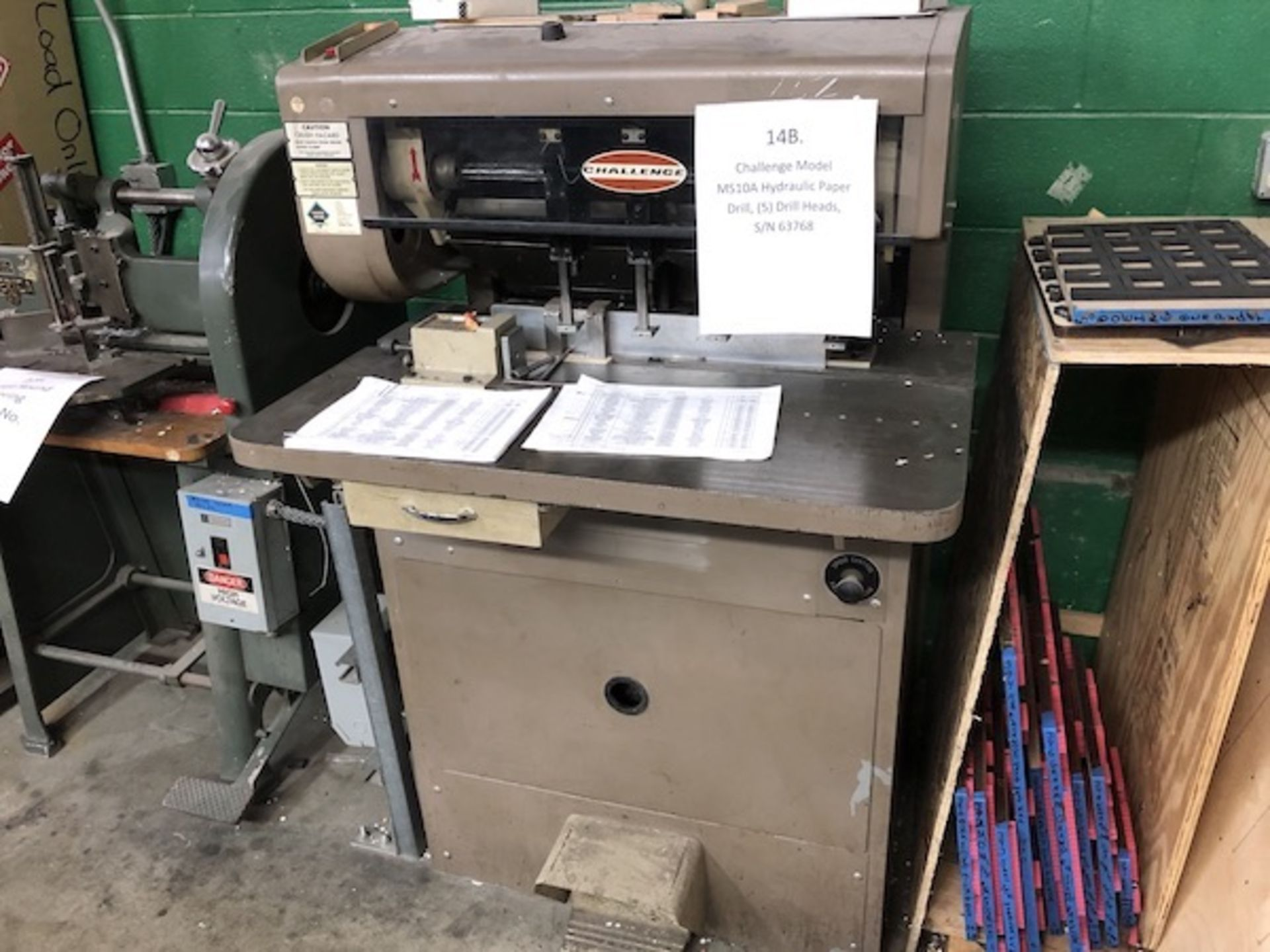 Lot 214 - Challenge Model MS10A Hydraulic Paper Drill, (5) Drill Heads, S/N 63768