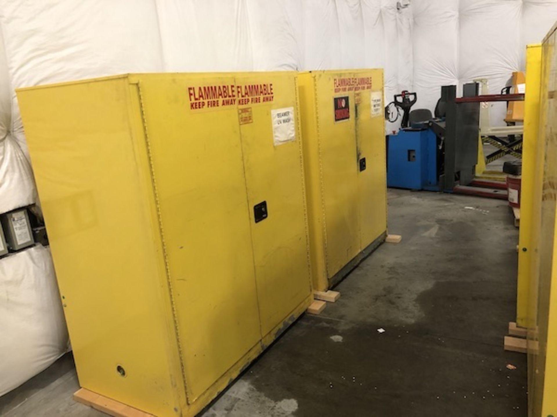 Lot 59 - 4 Yellow Hazardous material cabinets