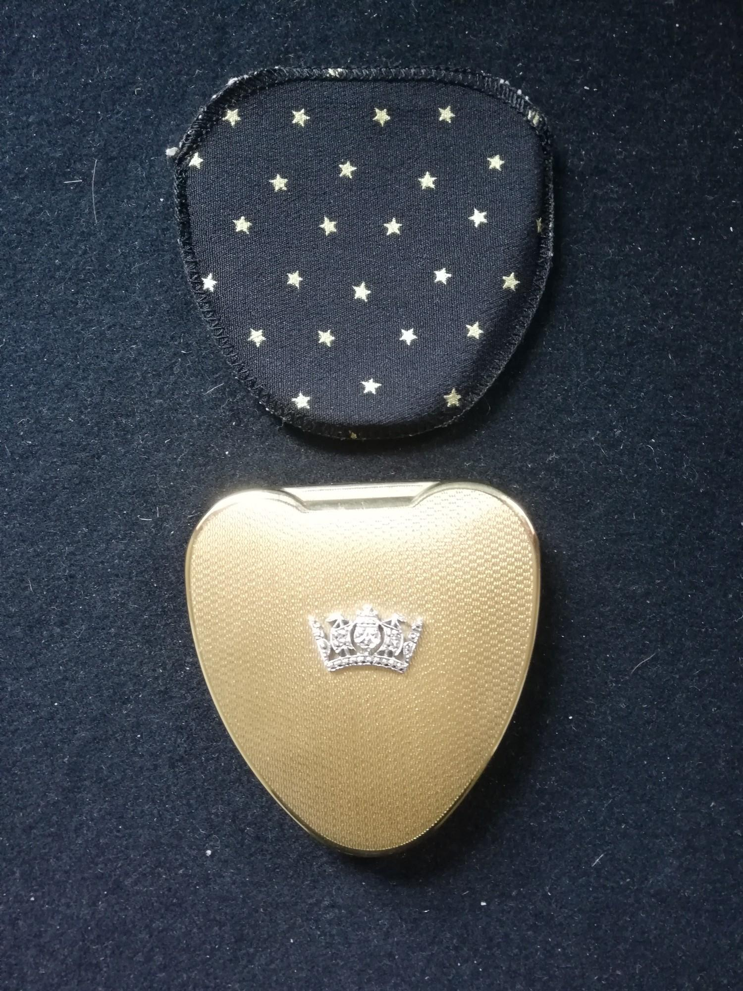 Lot 121 - Kigu Cherie heart shaped compact with naval crown embellishment & fabric sleeve