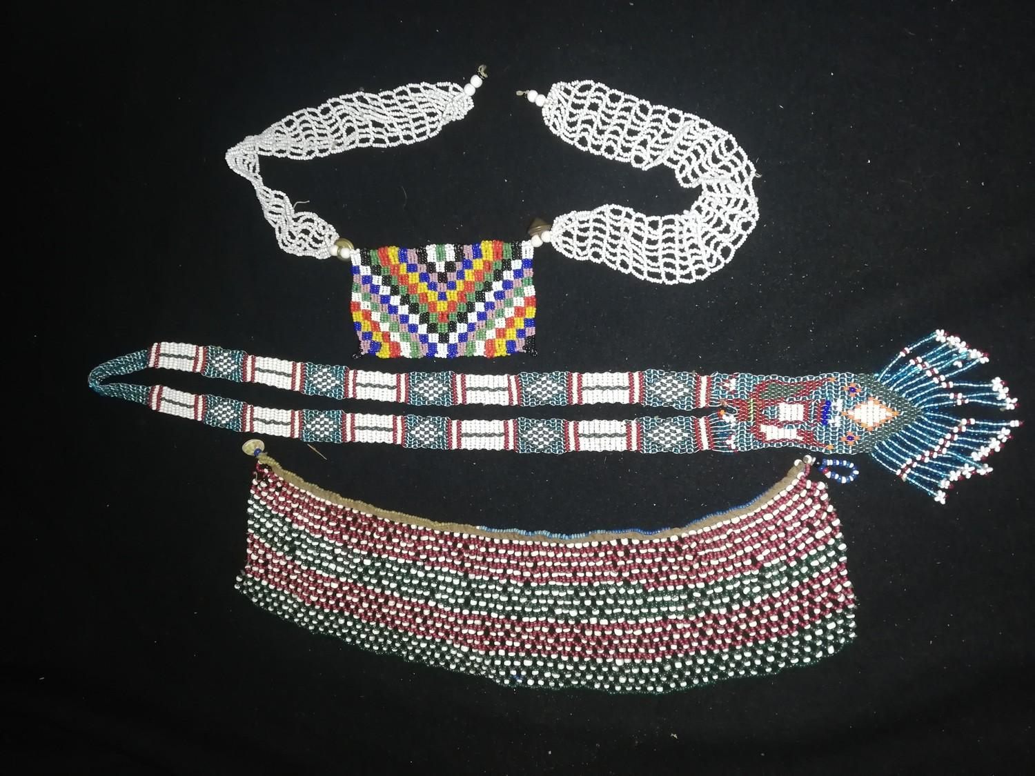 Lot 237 - 3 pieces of old african tribal beadwork