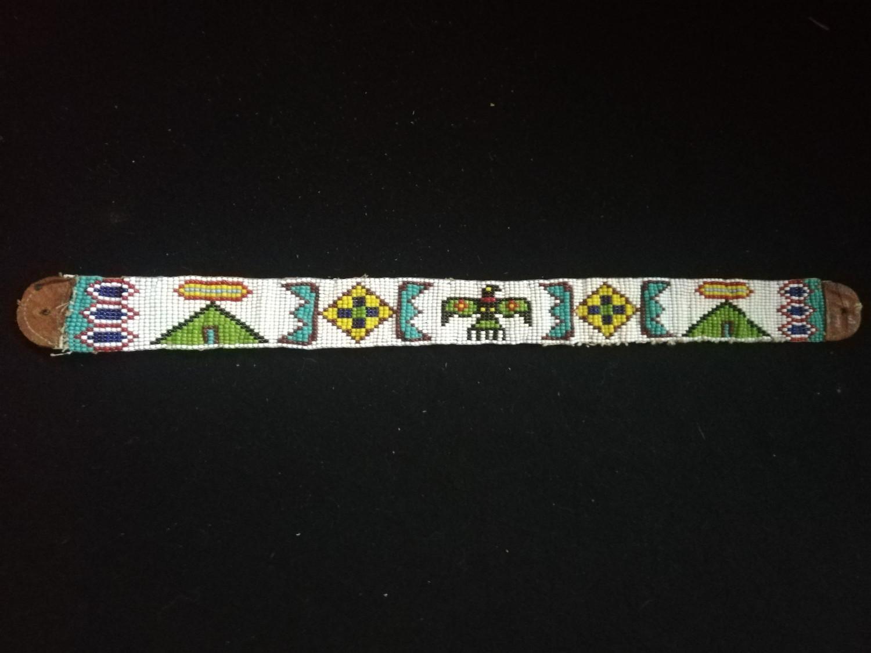 "Lot 236 - North American plains indian beadwork buck skin belt -16"" long (ex col matravers)"