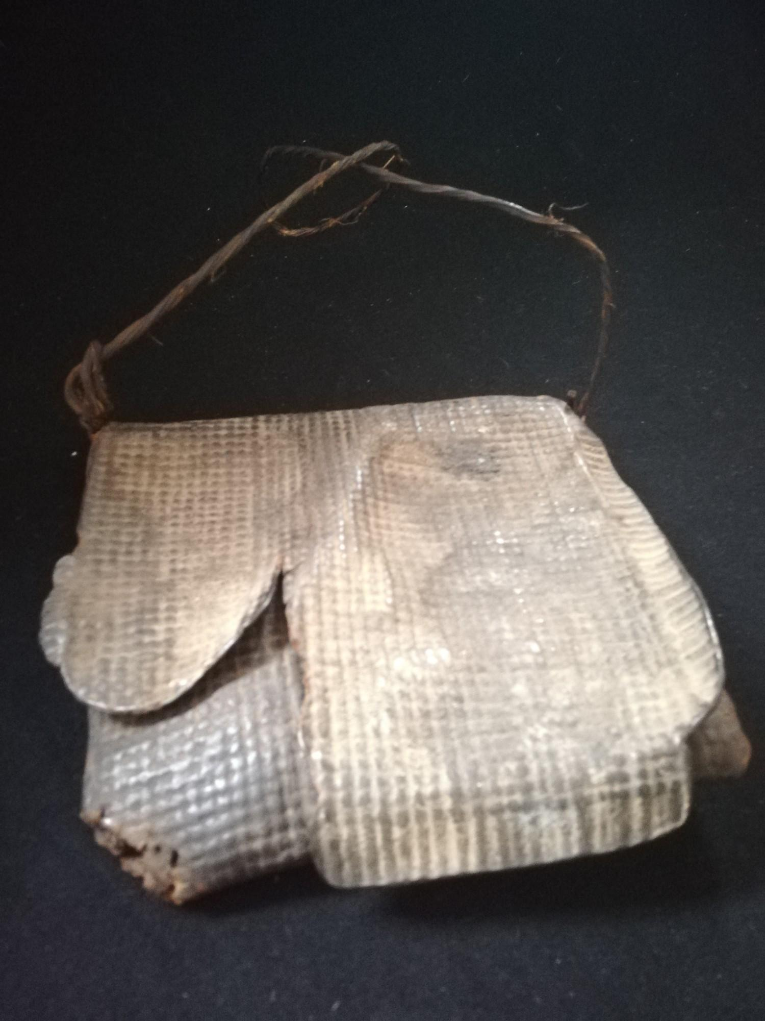 "Lot 234 - Antique African leather tribal shamans bag -8½"" x 8"""