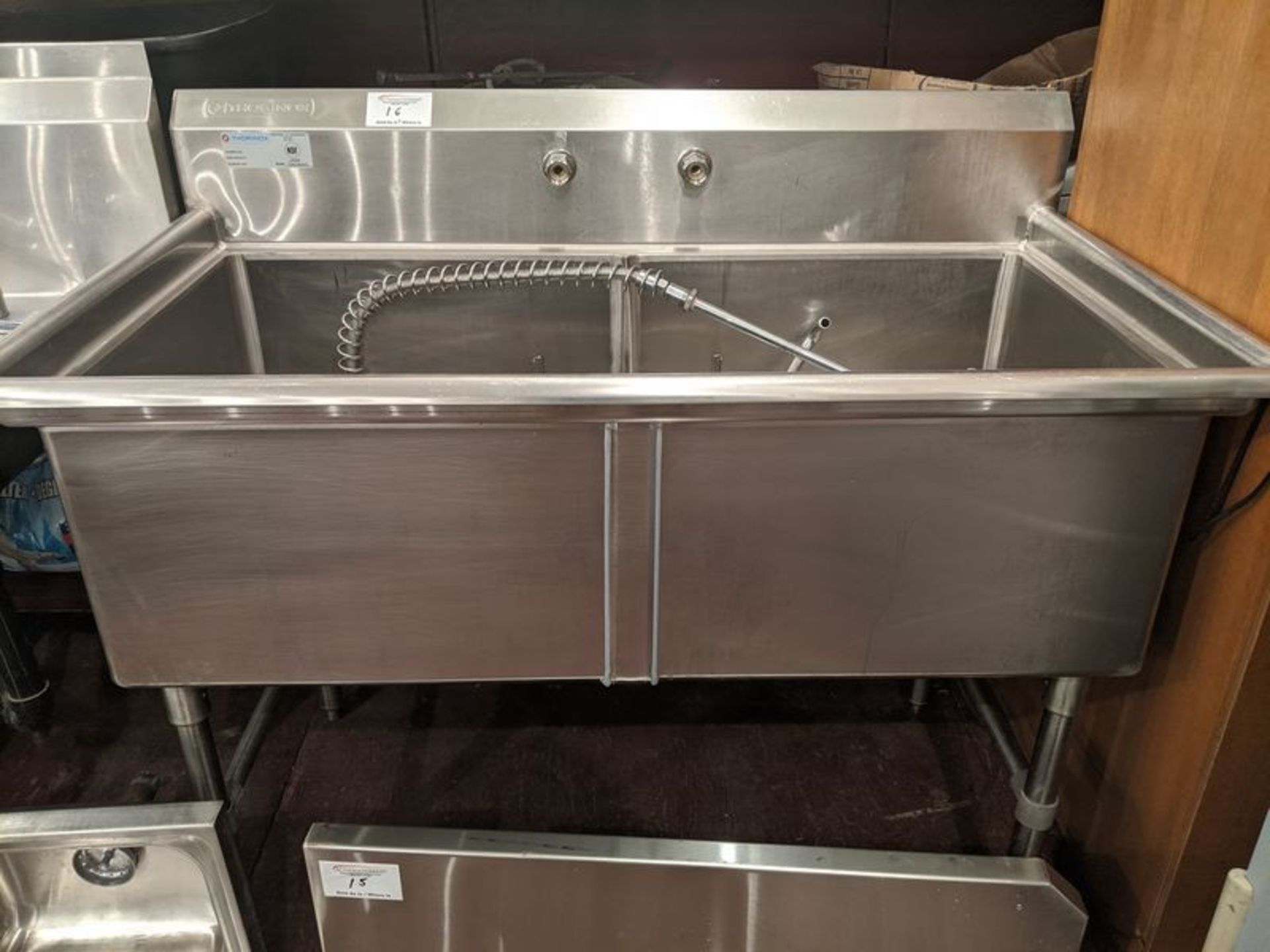 Lot 16 - Thorinox 52 in 2 Compartment Sink with Wash Wand