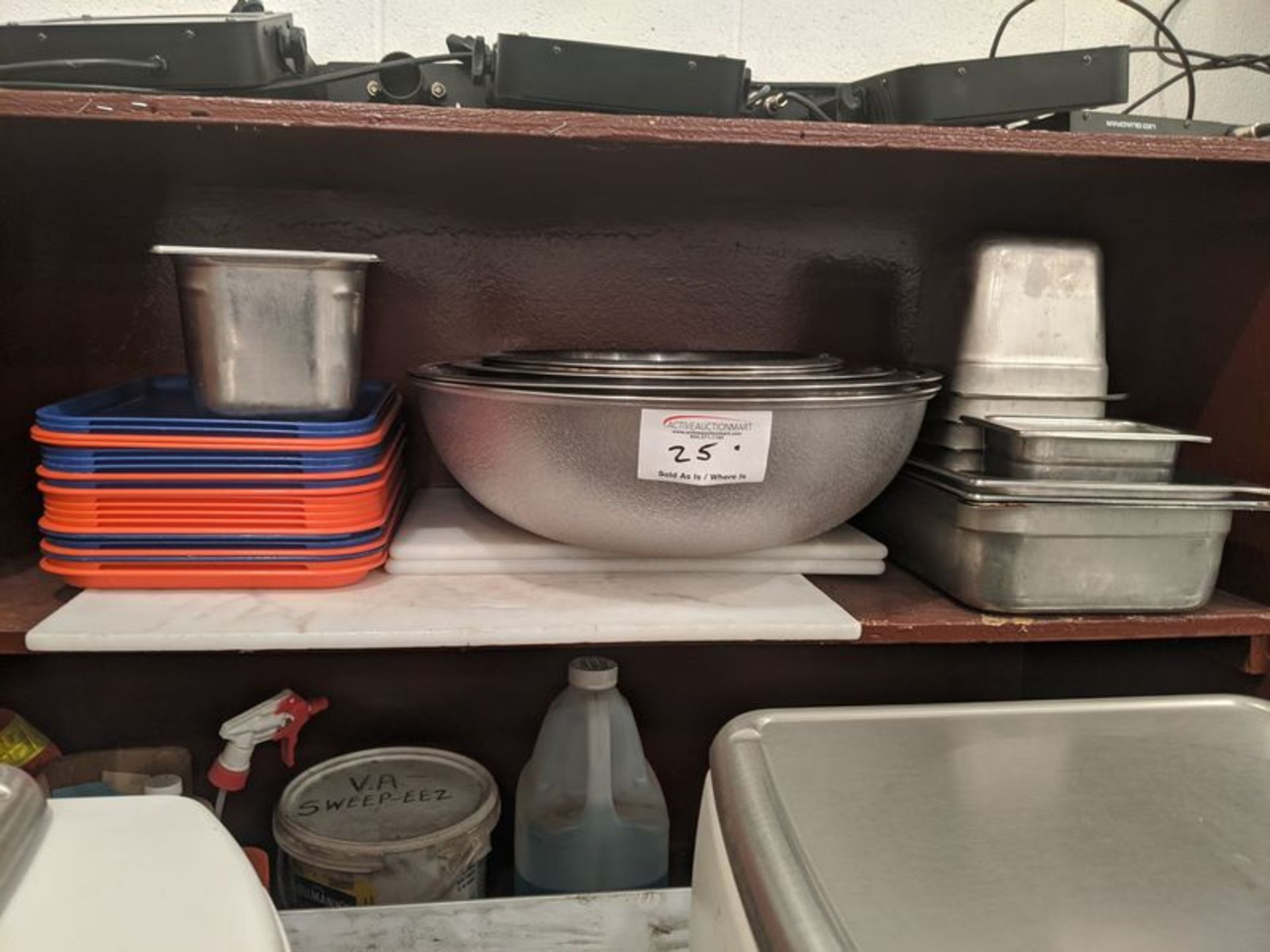 Lot 25 - Shelf of Misc. Pots, Bowls, Inserts, Cutting Boards