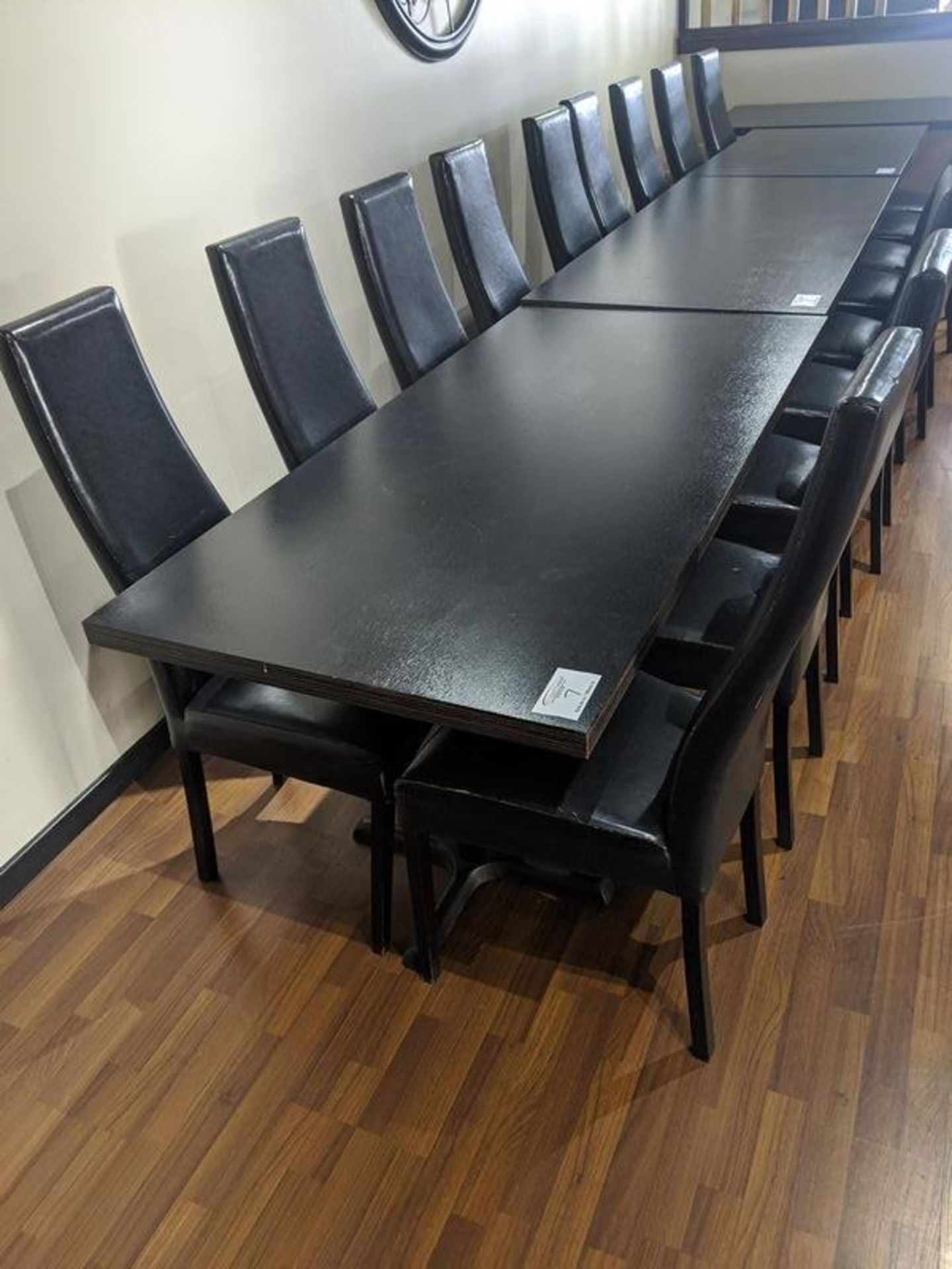 """Lot 7 - 30 x 60"""" Table with 6 Black Chairs"""
