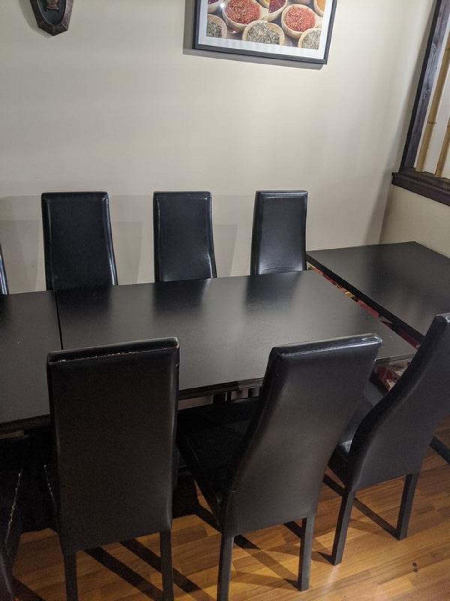 """Lot 9 - 30 x 60"""" Table with 6 Black Chairs"""