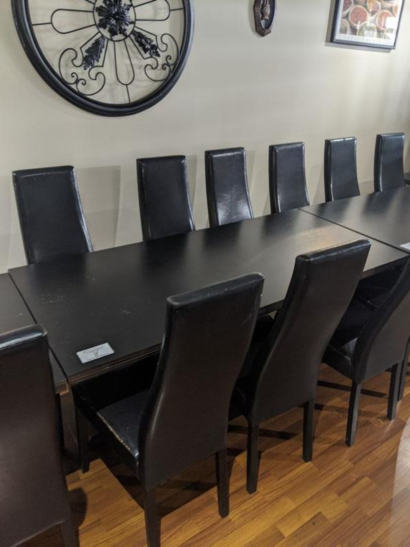 """Lot 8 - 30 x 60"""" Table with 6 Black Chairs"""