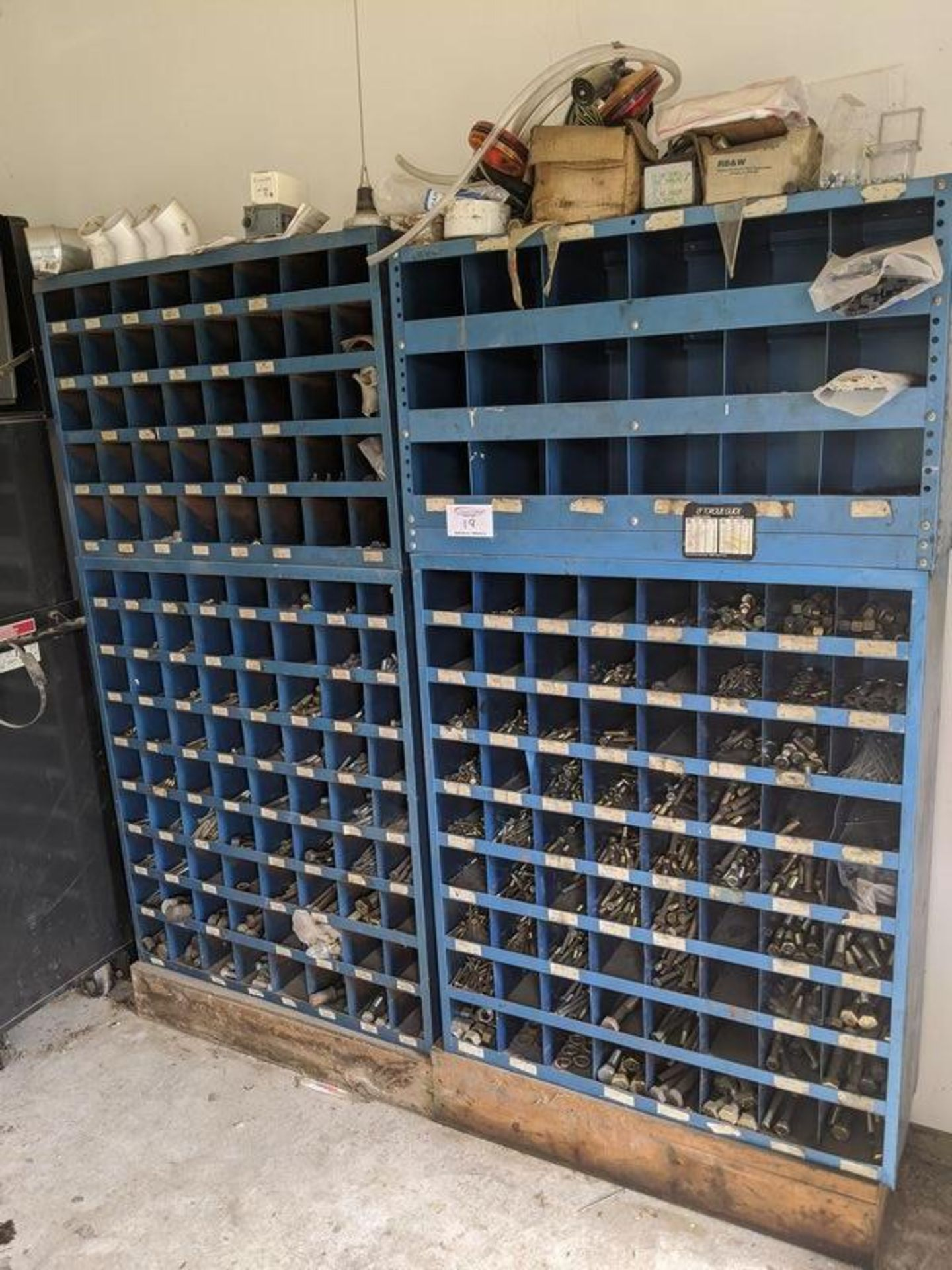 Lot 19 - 4 Sections of Bolt Bins with Contents