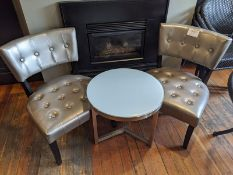 2 Lounge Chairs with Glass Coffee Table