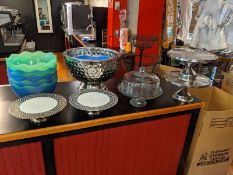 Cake Display Stands and Assorted Punch Bowls