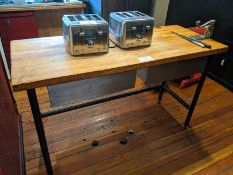 "60"" Butcher Block Table with 2 Drawers and Can Opener"