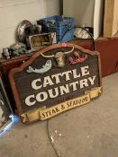 Cattle Country Sign with Light