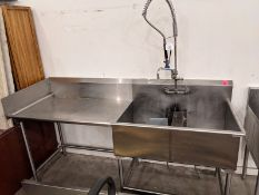 "84"" - 2 Compartment Stainless Steel Sink with Wash Wand and Runoff"
