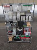 "48"" Stainless Steel Rack on Casters with Contents (blender, soup pot, inserts etc..)"