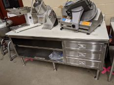 Custom 6ft Stainless Steel Work Table with Drawers and Cutting Top