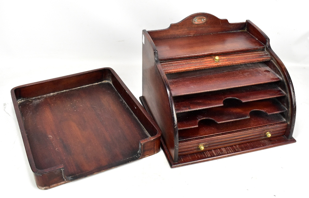 Lot 44 - A mid-20th century mahogany tambour fronted stationery box with copper rounded plaque, length