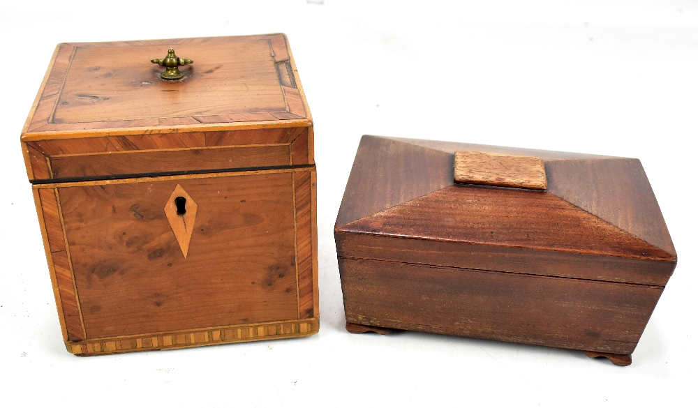 Lot 33 - A Georgian yew wood and line inlaid tea caddy, 11 x 12cm, and a mahogany sarcophagus shaped caddy (