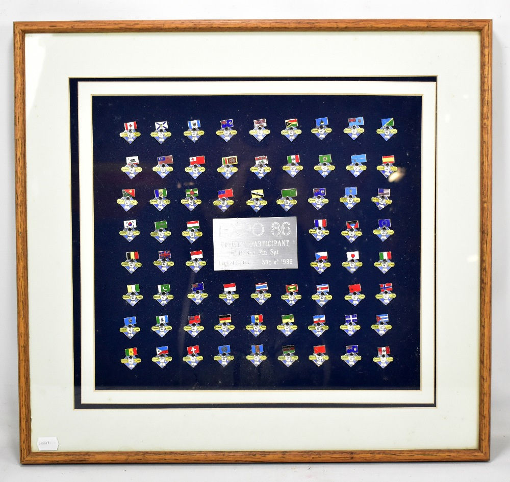 Lot 19 - EXPO 86; a limited edition set of sixty-six official participant collector's pin badges, 395/1986,
