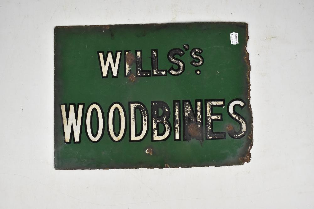 Lot 6 - An original enamel advertising sign inscribed 'Wills Woodbines', 30 x 41.5cm.