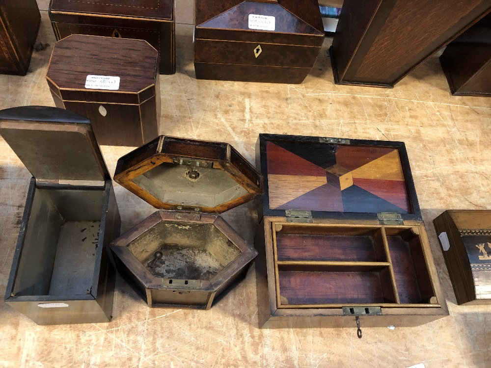 Lot 38 - Six Georgian and later tea caddies and boxes to include inlaid tea caddy, length 16cm, etc (6).
