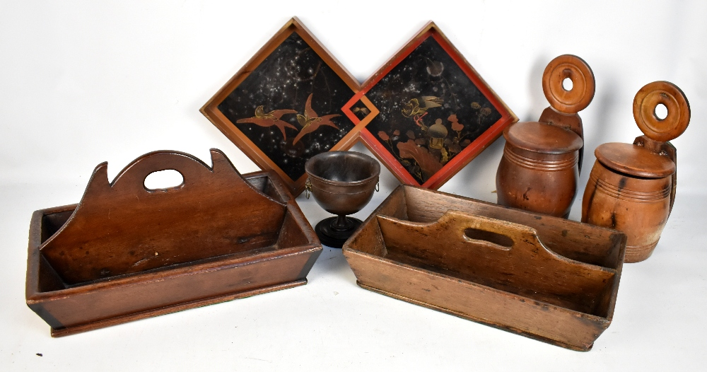 Lot 52 - Two 19th century treen cutlery trays, two lidded salt boxes, a lacquered aesthetic movement tray,