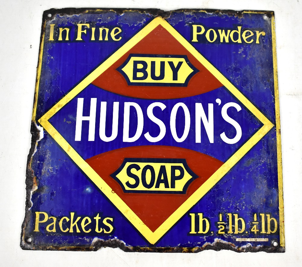 Lot 3 - An original enamel advertising sign inscribed 'Buy Hudson's Soap, in fine powder', 31 x 30cm.