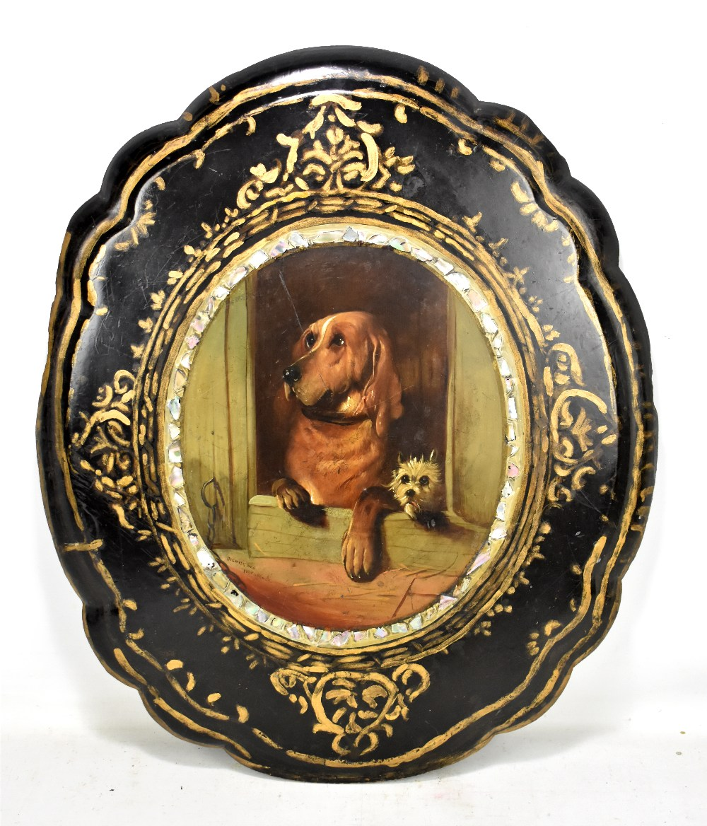 Lot 29 - A Victorian papier-mâché table top, the central panel painted after Sir Edwin Henry Landseer '