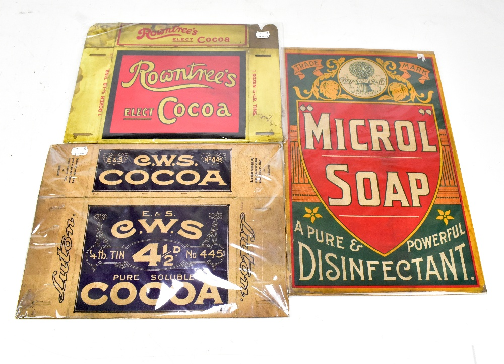 Lot 8 - An original advertising card sign inscribed 'Microl Soap', 46 x 29cm, also two advertising packaging