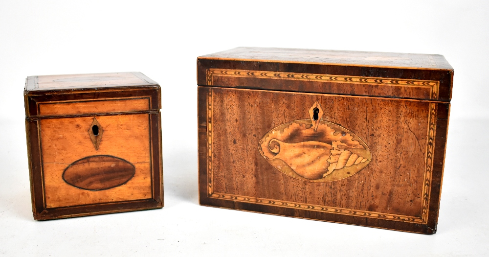 Lot 37 - A Georgian inlaid mahogany tea caddy of rectangular form, the hinged cover enclosing two