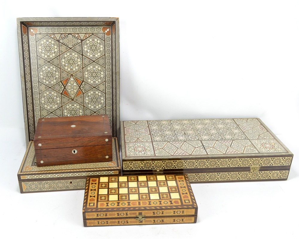 Lot 28 - Four pieces of 20th century Anglo-Indian ware including rectangular tray, length 46.5cm, folding