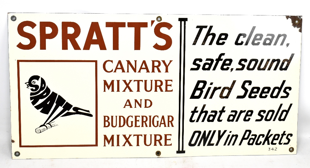 Lot 1 - An original enamel advertising sign inscribed 'Spratts Canary Mixture & Budgerigar Mixture, The