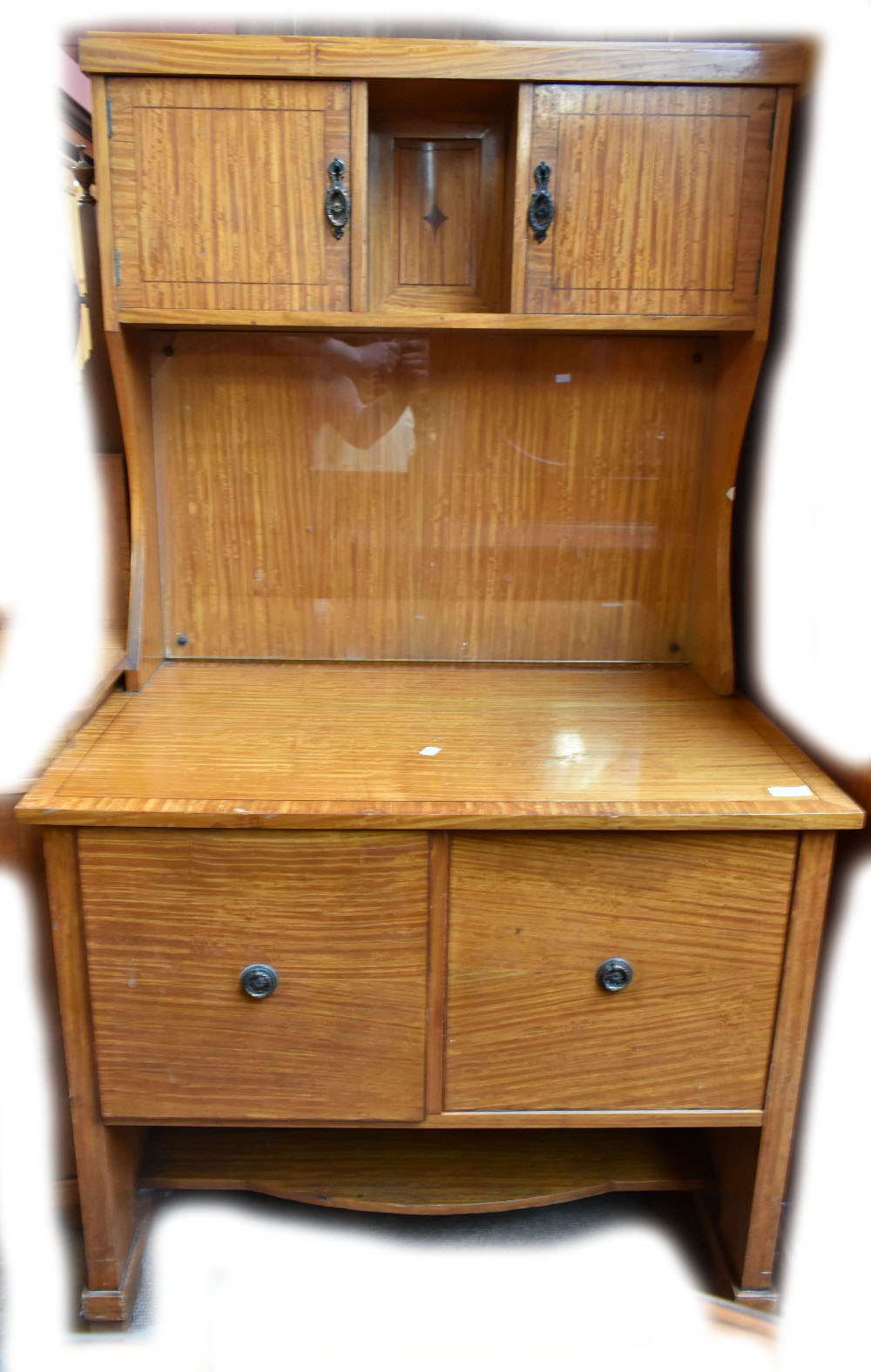 Lot 2601 - A good satin birch and inlaid four piece part bedroom suite comprising two pot cupboards, a dressing